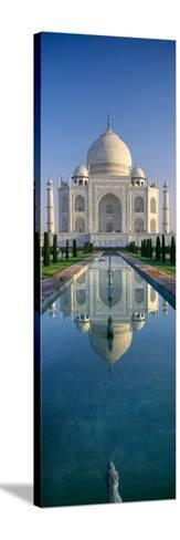 Reflection of a Mausoleum on Water, Taj Mahal, Agra, Uttar Pradesh, India--Stretched Canvas Print