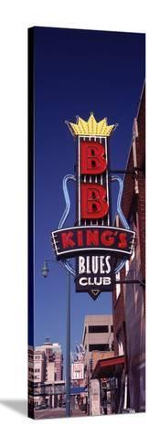 Low Angle View of a Signboard of a Restaurant, B.B. King's Blues Club, Beale Street, Memphis--Stretched Canvas Print