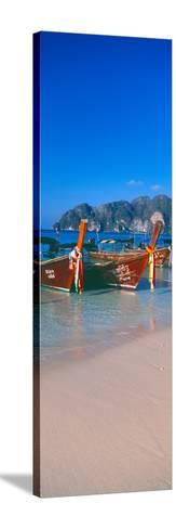 Fishing Boats in the Sea, Phi Phi Islands, Phuket Province, Thailand--Stretched Canvas Print