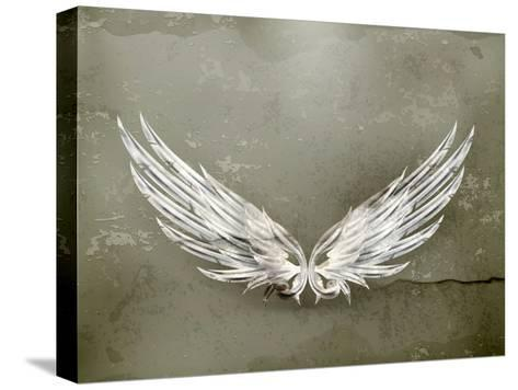 Wings White Old-Style Vector-Nataliia Natykach-Stretched Canvas Print
