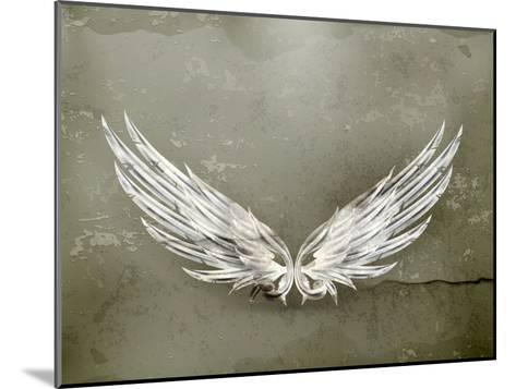 Wings White Old-Style Vector-Nataliia Natykach-Mounted Art Print