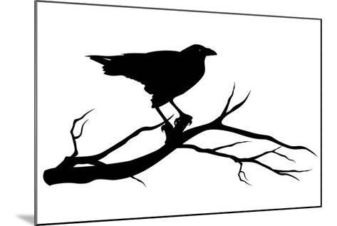Raven Bird Silhouette-Cattallina-Mounted Art Print