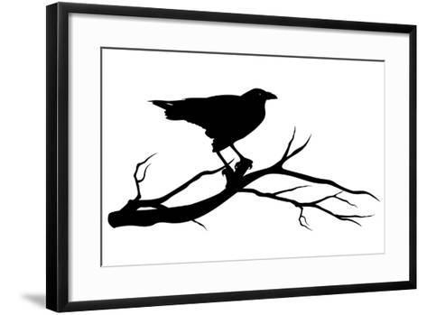 Raven Bird Silhouette-Cattallina-Framed Art Print