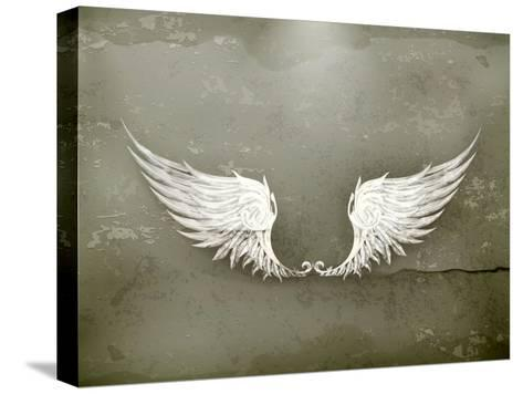 Wings White, Old-Style Vector-Nataliia Natykach-Stretched Canvas Print