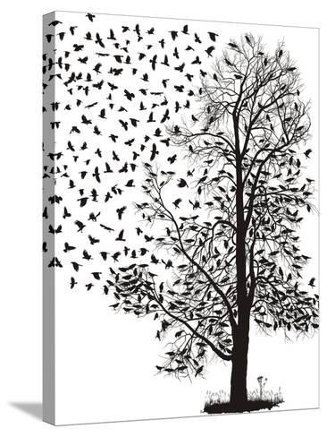 Crows Fly Away from the Tree-Gepard-Stretched Canvas Print