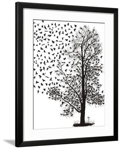 Crows Fly Away from the Tree-Gepard-Framed Art Print