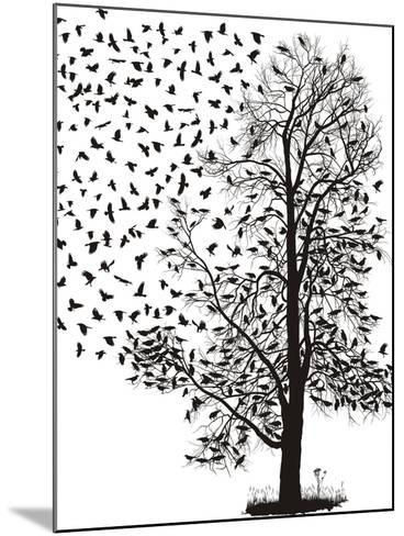 Crows Fly Away from the Tree-Gepard-Mounted Art Print
