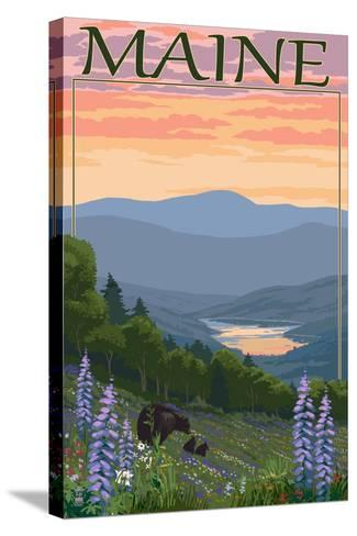 Maine - Bear and Cubs in Spring Flowers-Lantern Press-Stretched Canvas Print