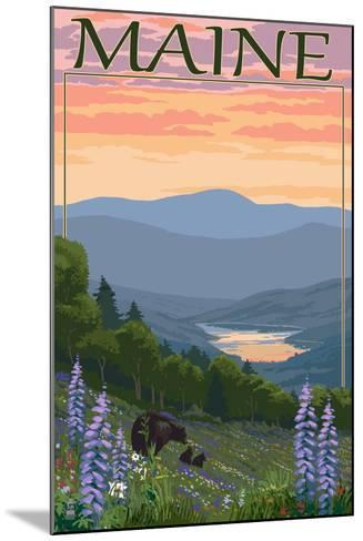 Maine - Bear and Cubs in Spring Flowers-Lantern Press-Mounted Art Print