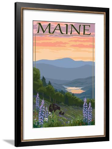 Maine - Bear and Cubs in Spring Flowers-Lantern Press-Framed Art Print