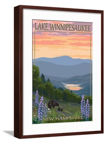 Lake Winnipesaukee, New Hampshire - Bears and Spring Flowers-Lantern Press-Framed Art Print