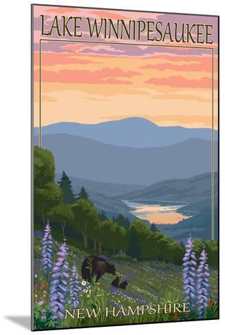 Lake Winnipesaukee, New Hampshire - Bears and Spring Flowers-Lantern Press-Mounted Art Print