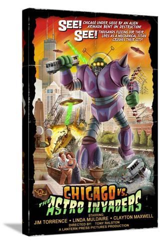 Chicago Versus Astro Invaders-Lantern Press-Stretched Canvas Print