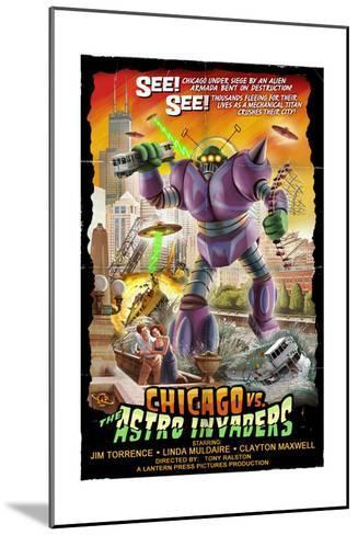 Chicago Versus Astro Invaders-Lantern Press-Mounted Art Print