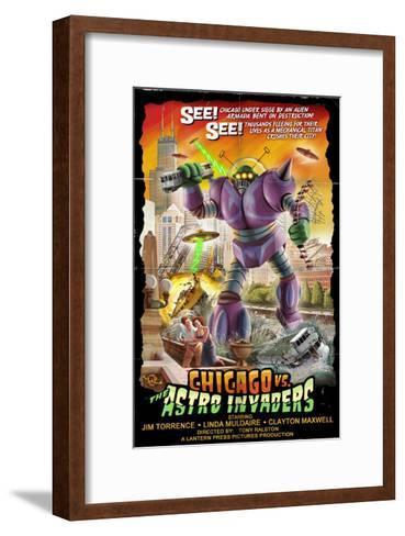 Chicago Versus Astro Invaders-Lantern Press-Framed Art Print