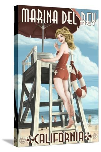Marina Del Rey, California - Lifeguard Pinup-Lantern Press-Stretched Canvas Print
