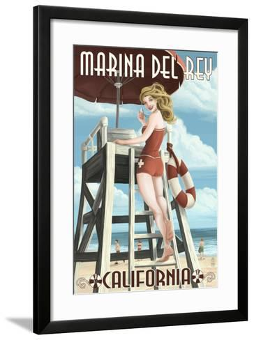 Marina Del Rey, California - Lifeguard Pinup-Lantern Press-Framed Art Print