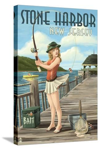 Stone Harbor, New Jersey - Fishing Pinup-Lantern Press-Stretched Canvas Print