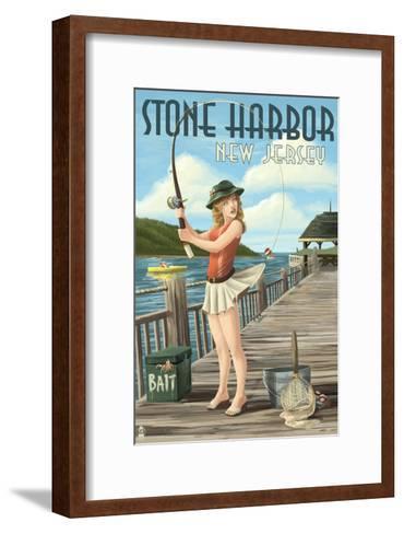 Stone Harbor, New Jersey - Fishing Pinup-Lantern Press-Framed Art Print