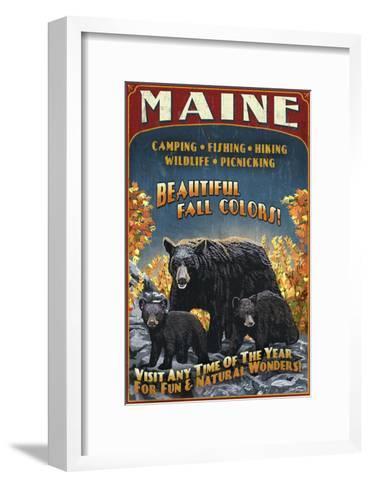 Maine - Black Bear Family Vintage Sign-Lantern Press-Framed Art Print