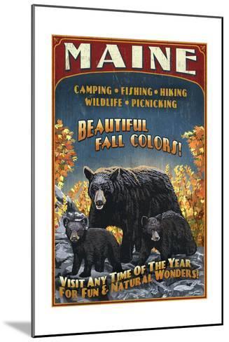 Maine - Black Bear Family Vintage Sign-Lantern Press-Mounted Art Print