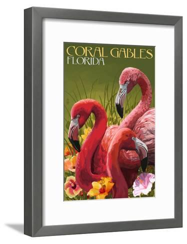 Coral Gables, Florida - Flamingos-Lantern Press-Framed Art Print