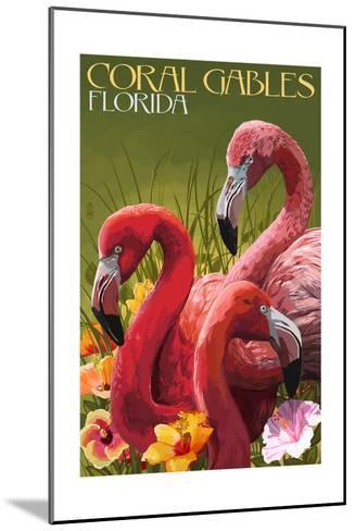 Coral Gables, Florida - Flamingos-Lantern Press-Mounted Art Print