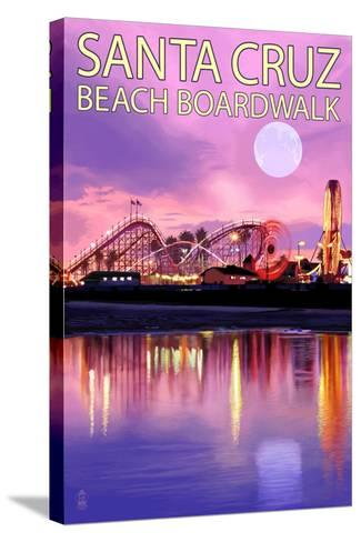 Santa Cruz, California - Beach Boardwalk and Moon at Twilight-Lantern Press-Stretched Canvas Print