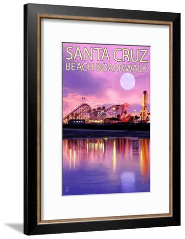 Santa Cruz, California - Beach Boardwalk and Moon at Twilight-Lantern Press-Framed Art Print