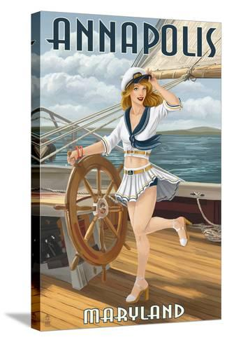 Annapolis, Maryland - Pinup Girl Sailing-Lantern Press-Stretched Canvas Print