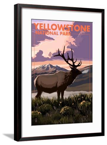 Yellowstone National Park - Elk and Sunset-Lantern Press-Framed Art Print