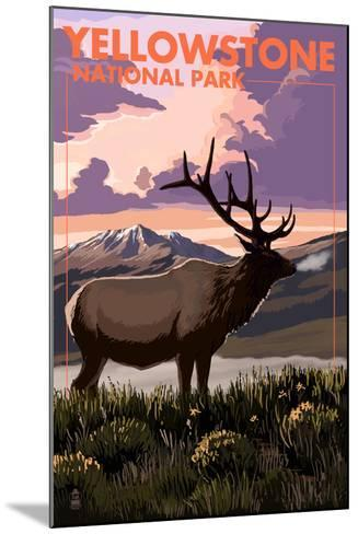 Yellowstone National Park - Elk and Sunset-Lantern Press-Mounted Art Print