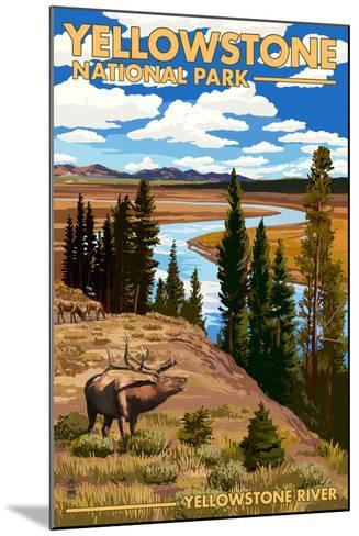 Yellowstone National Park - Yellowstone River and Elk-Lantern Press-Mounted Art Print