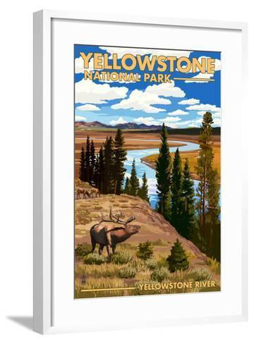 Yellowstone National Park - Yellowstone River and Elk-Lantern Press-Framed Art Print