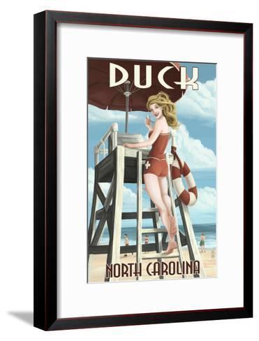 Duck, North Carolina - Lifeguard Pinup-Lantern Press-Framed Art Print