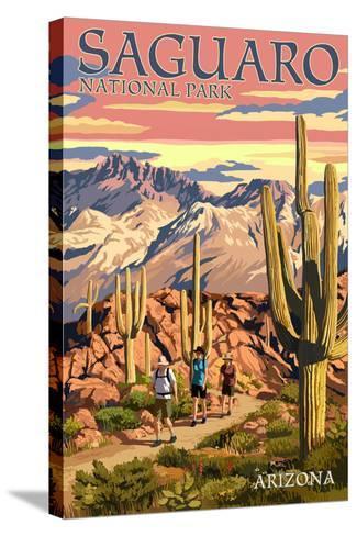 Saguaro National Park, Arizona - Hiking Scene-Lantern Press-Stretched Canvas Print