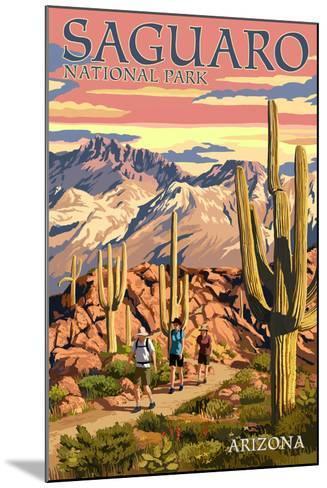 Saguaro National Park, Arizona - Hiking Scene-Lantern Press-Mounted Art Print