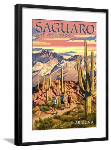 Saguaro National Park, Arizona - Hiking Scene-Lantern Press-Framed Art Print