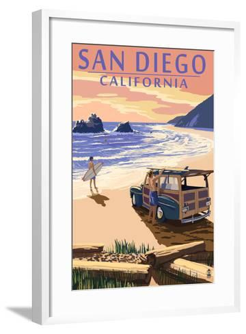 San Diego, California - Woody on Beach-Lantern Press-Framed Art Print