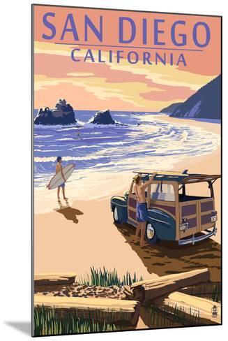 San Diego, California - Woody on Beach-Lantern Press-Mounted Art Print