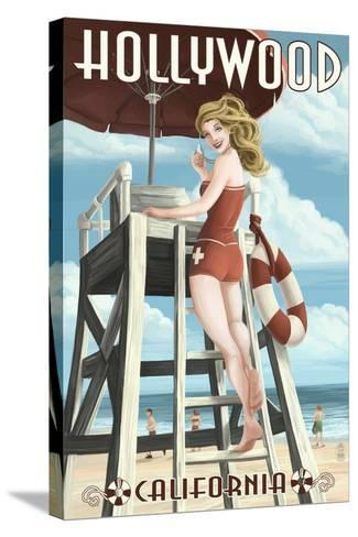 Hollywood, California - Lifeguard Pinup-Lantern Press-Stretched Canvas Print