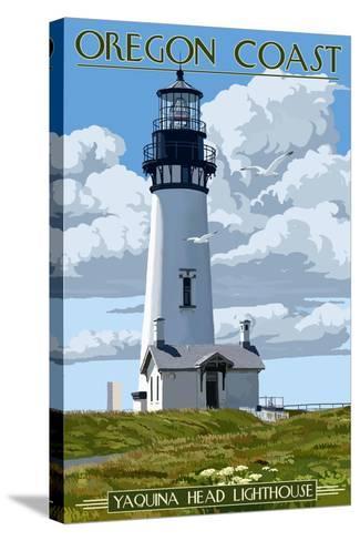 Yaquina Head Lighthouse - Oregon Coast-Lantern Press-Stretched Canvas Print