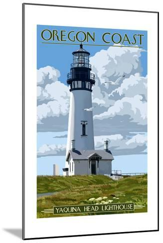 Yaquina Head Lighthouse - Oregon Coast-Lantern Press-Mounted Art Print