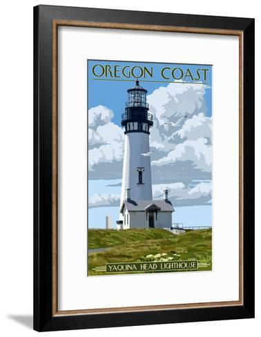 Yaquina Head Lighthouse - Oregon Coast-Lantern Press-Framed Art Print