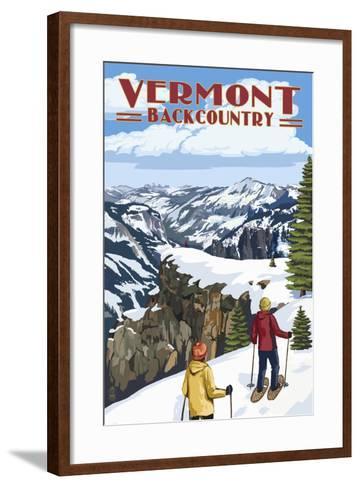 Vermont - Showshoer Scene-Lantern Press-Framed Art Print