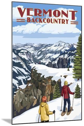 Vermont - Showshoer Scene-Lantern Press-Mounted Art Print