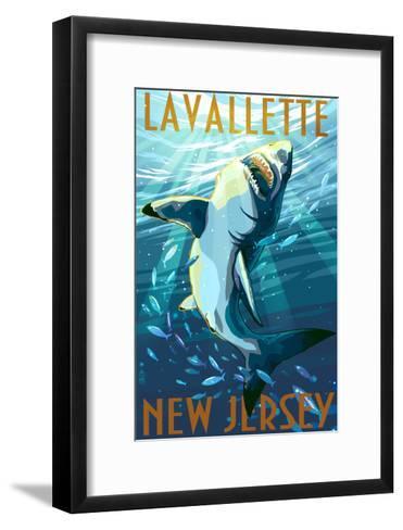 Lavallette, New Jersey - Great White Shark-Lantern Press-Framed Art Print