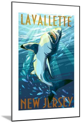 Lavallette, New Jersey - Great White Shark-Lantern Press-Mounted Art Print