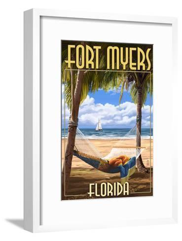 Fort Myers, Florida - Palms and Hammock-Lantern Press-Framed Art Print