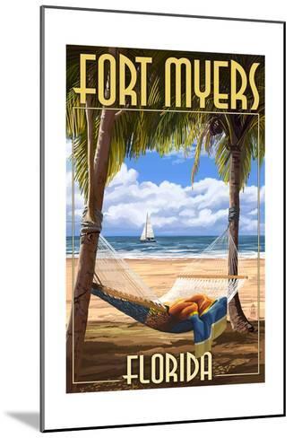 Fort Myers, Florida - Palms and Hammock-Lantern Press-Mounted Art Print
